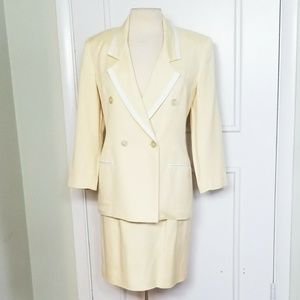 Vintage 80s does 40s Pastel Yellow Skirt Suit